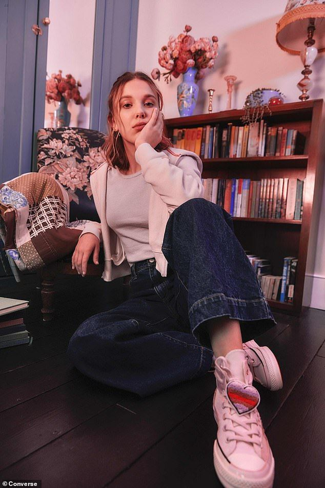 Photo of Millie Bobby Brown showcases her new designs for Converse