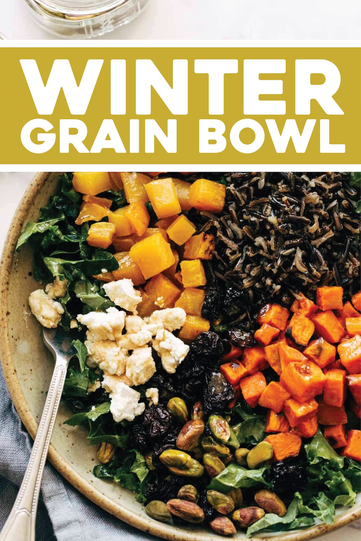 The BEST Winter Grain Bowl! Roasted root vegetables, earthy grains, dried fruit, dark leafy greens, buttery goat cheese, and lusciously creamy balsamic dressing. #salad #bowl #vegetarian #winterrecipe
