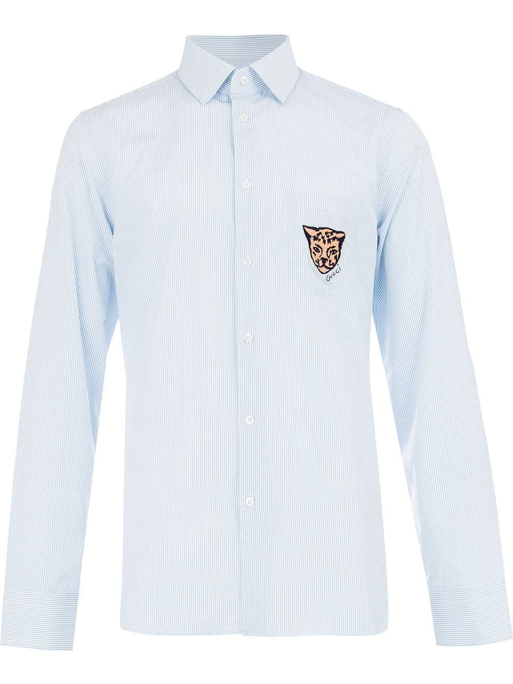 aa2ea186d7fd Gucci leopard crest striped shirt - Blue in 2019 | Products | Gucci ...
