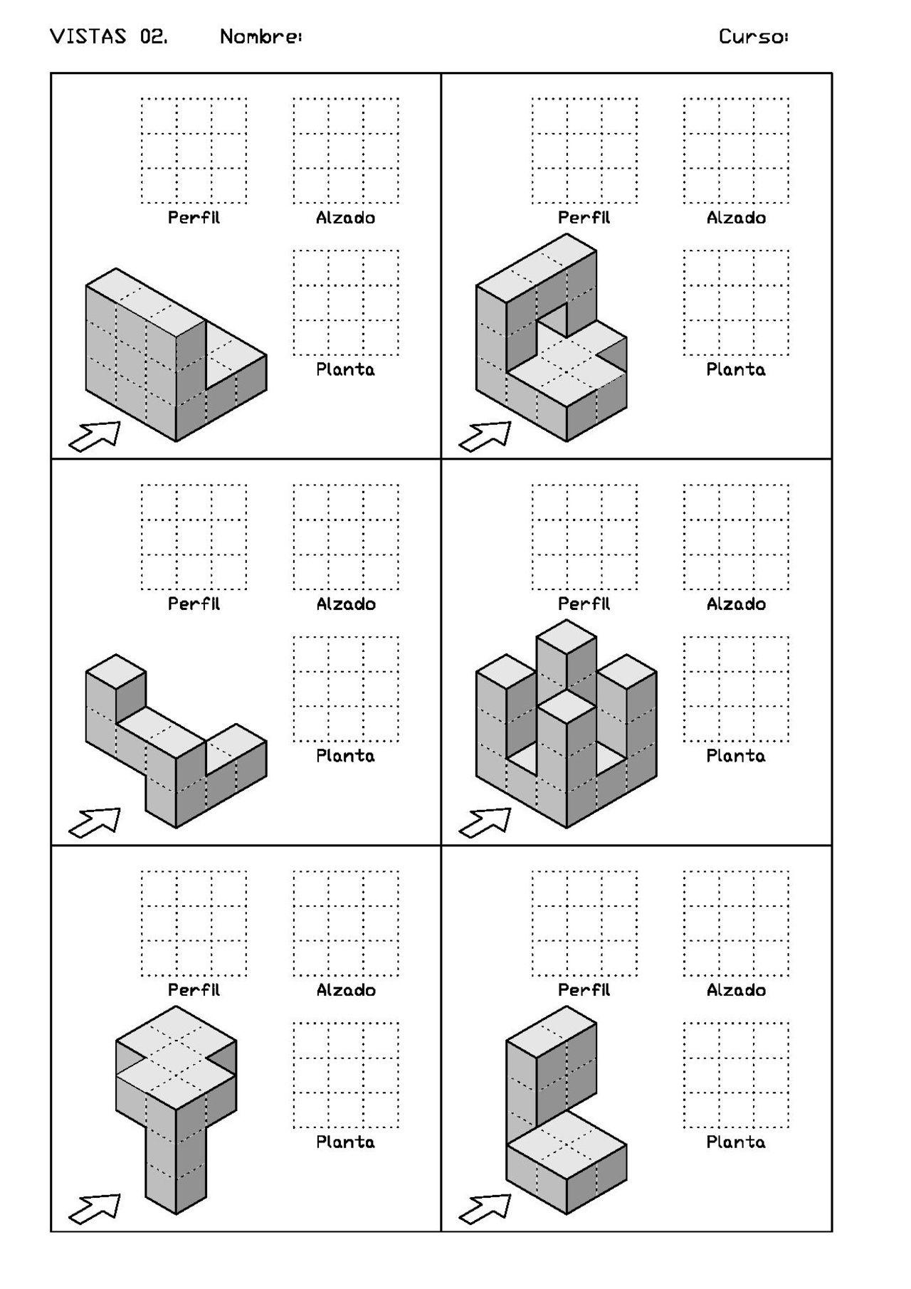 Ejercicios De Vistas Y Perspectivas Alzado Izquierdo Piezas Con Vistas Ocultas Dibujos De Geometria Clases De Dibujo En Perspectiva Vistas Dibujo Tecnico