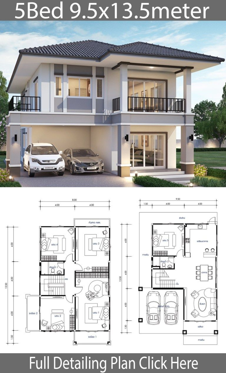 House Design Plans Idea 11 5x10 5 With 4 Bedrooms Home Ideassearch Bungalow House Design Model House Plan House Construction Plan