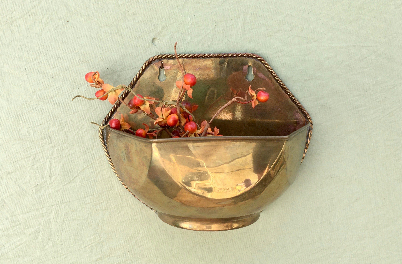 Vintage Hosley Solid Brass Decorative Planter