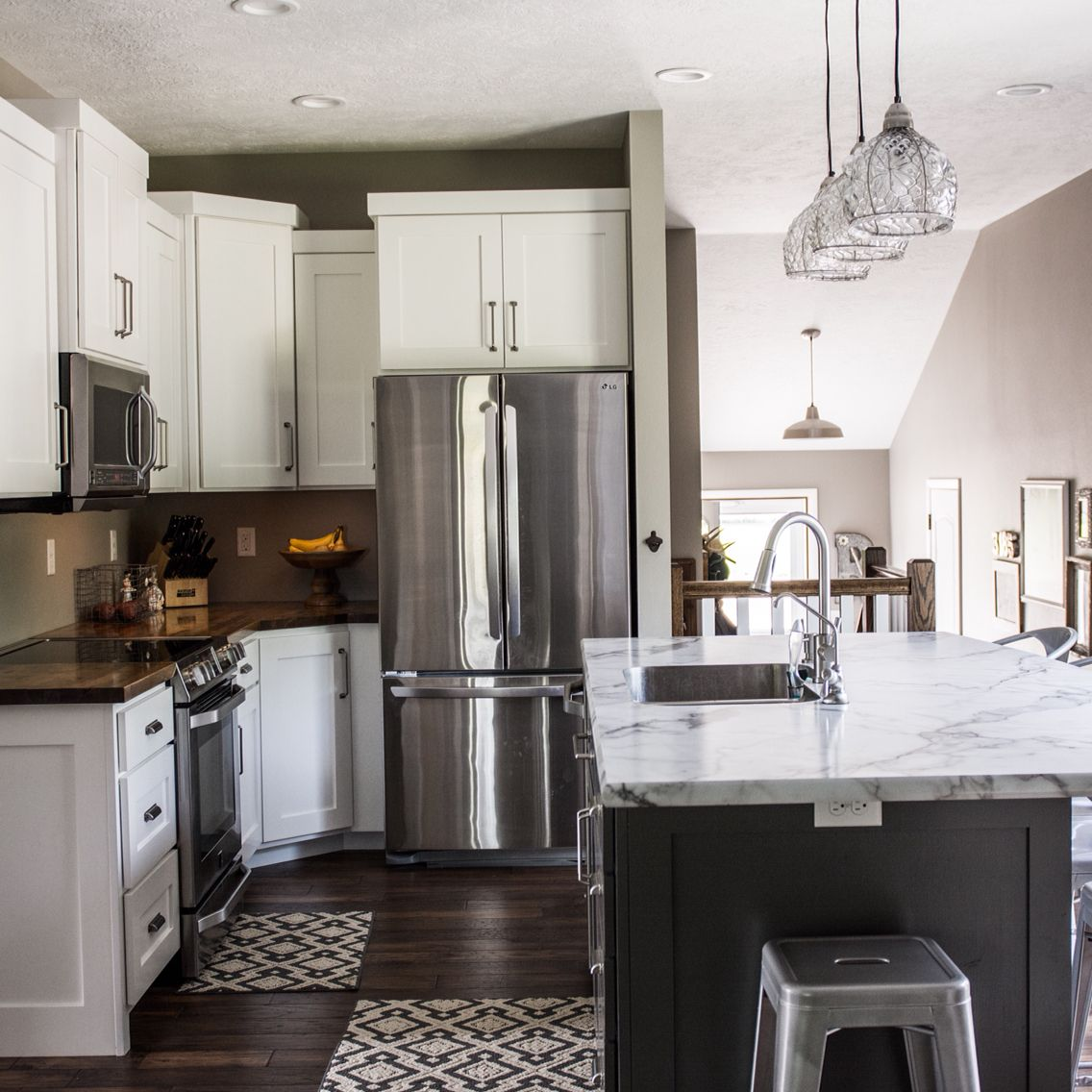 White Kitchen Cabinets, Kendall Charcoal BM Painted Island, Butcher Block  Perimeter Counter Tops,