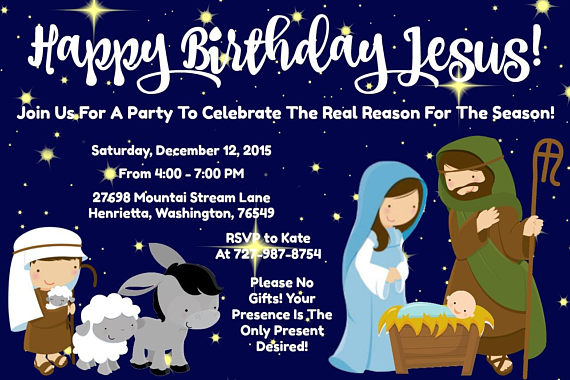 Happy Birthday Jesus Christmas Party Invitation 4x6 Etsy Happy Birthday Jesus Christmas Party Invitations Wishes For Baby Cards