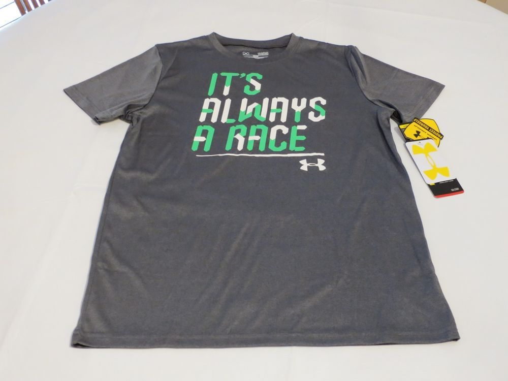 8dff074f Under Armour grey IT'S ALWAYS A RACE T shirt YLG L loose Youth ...