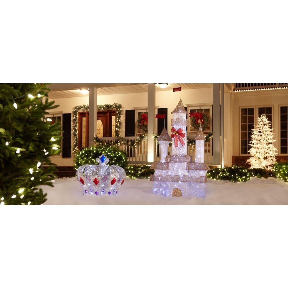 Home Accents Holiday 6 Ft Lighted Twinkling Castle Ty373 1411 At The Home Depot Frozen Inspired Yard Christmas Yard Decorations Yard Decor Christmas Yard