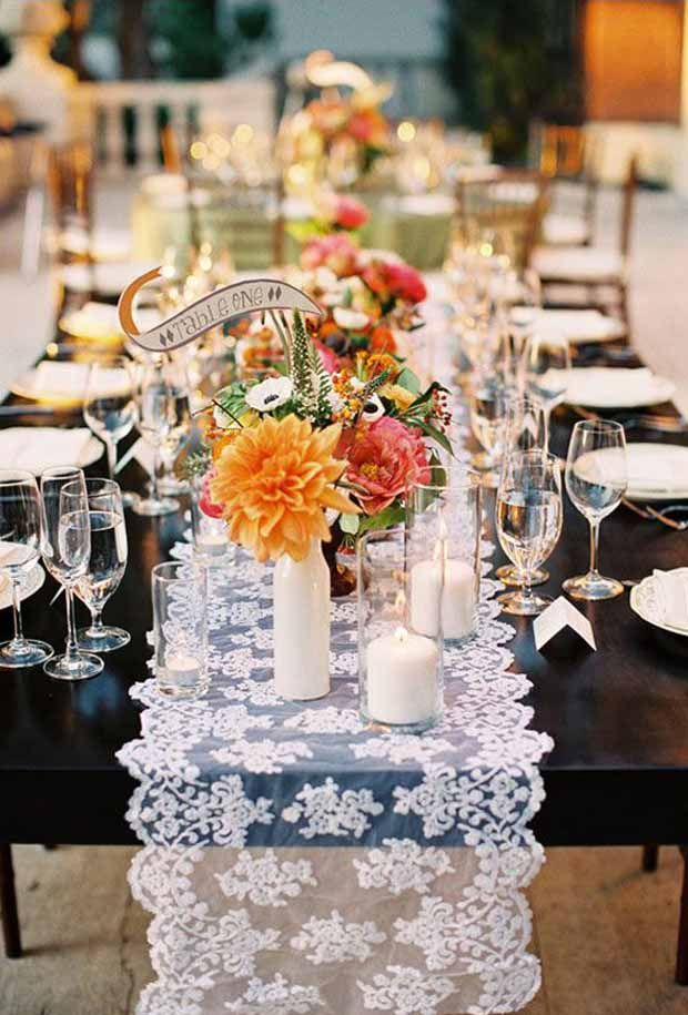 romantic lace table runner chic wedding table decoration ideas ...