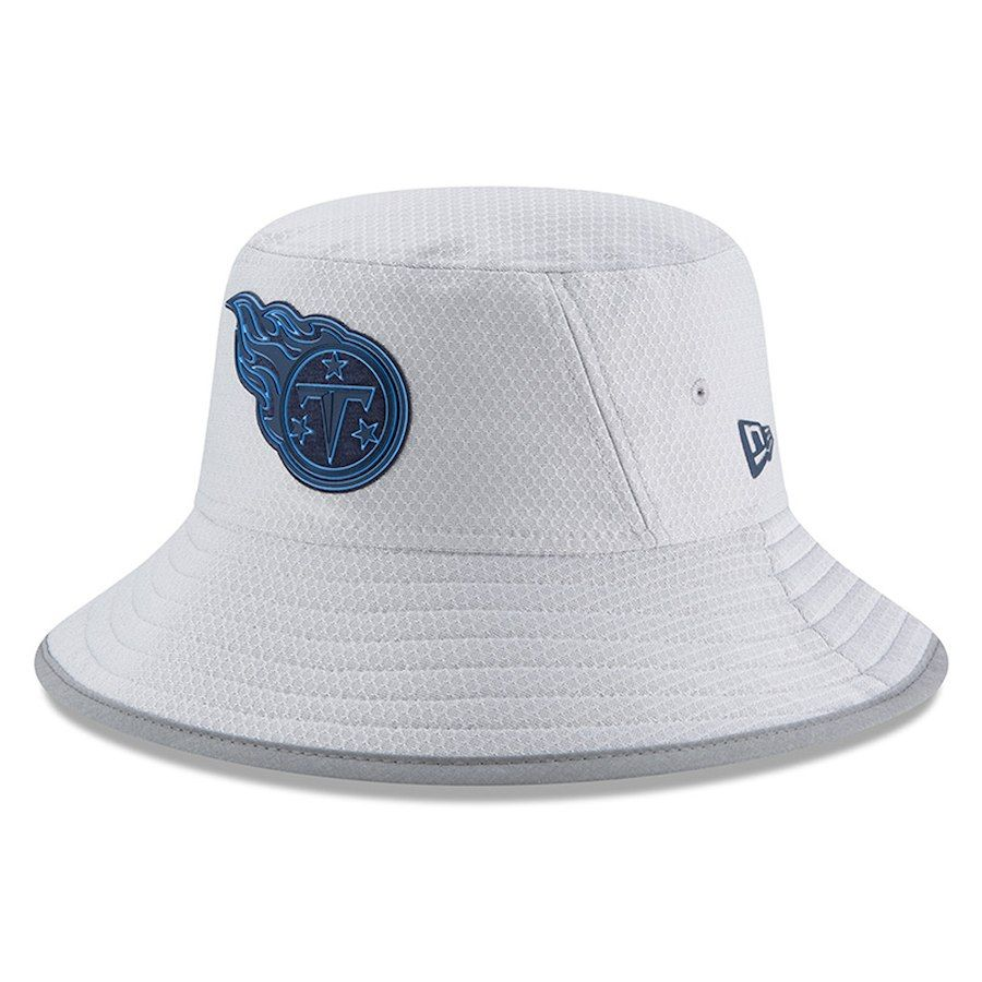 75e19f0e934 Youth Tennessee Titans New Era Gray 2018 Training Camp Official Bucket Hat