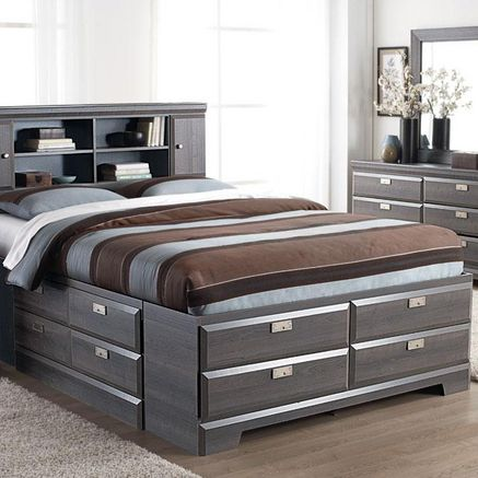 Cypres Queen Storage Bed With Bookcase Headboard Sears Beds For Small Spaces Bed Furniture Bedroom Bed Design