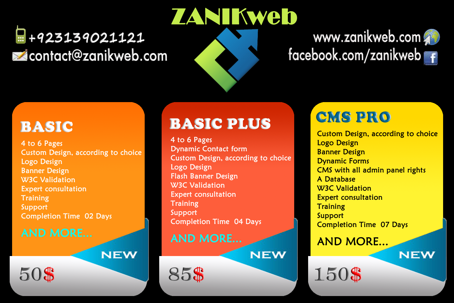 #ZanikWeb provides complete website and art solutions for businesses.  Our packages includes; professional Custom Design, Long term and on-demand Maintenance and updates, domain name, emails, ecommerce and 24/7 support.  Additionally ZanikWeb provide an array of Quality services: Corporate Design services, web analytics,Testng, Search Engine Optimization (SEO), Social Media Optimization (SMO), rich content and mobile website design.
