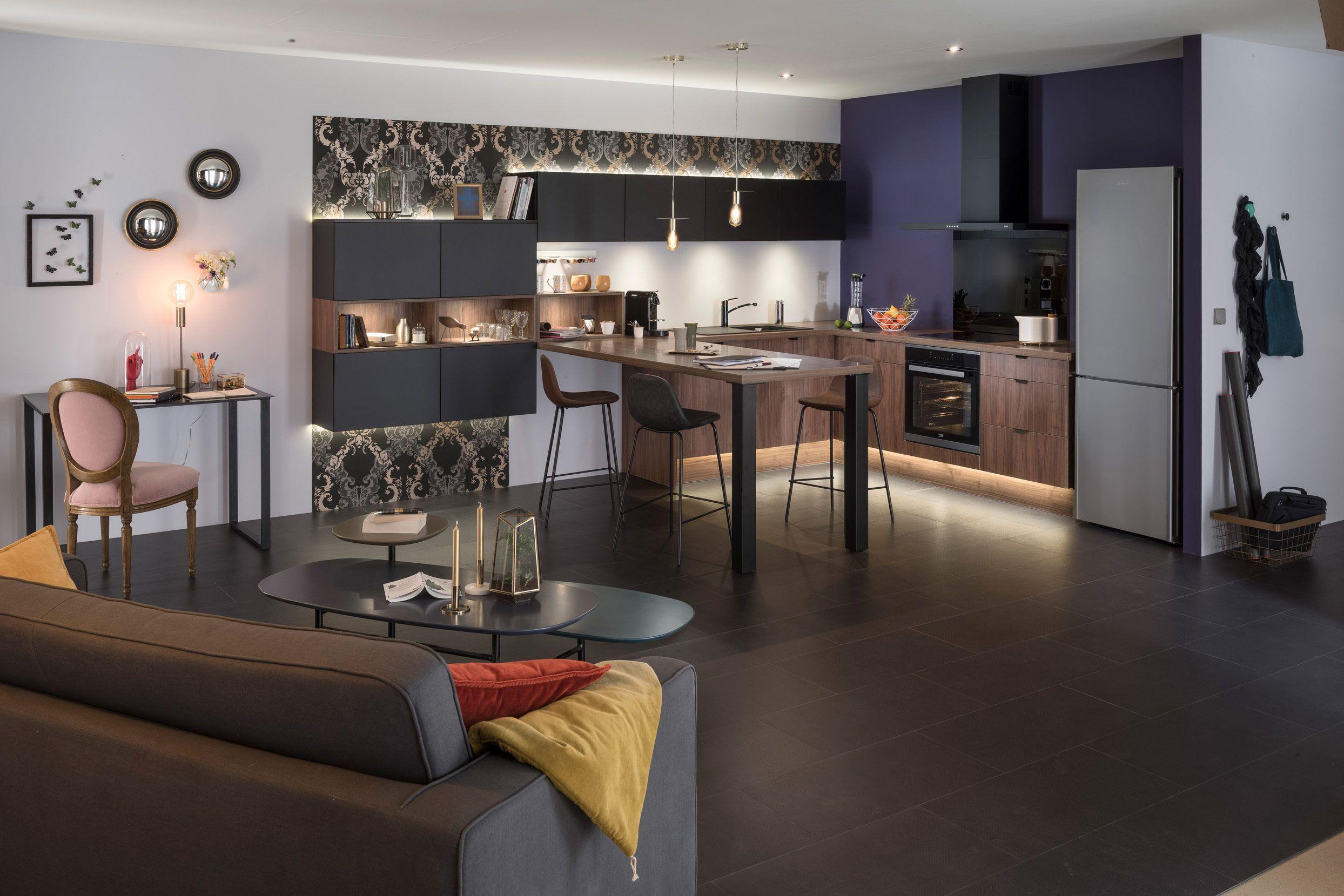 Panneau Melamine Noir Mat baroc   cuisine moderne, cuisine noire et cuisines design