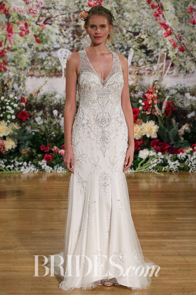 "Kyra"" wedding gown with tulle godets and plunging neckline by Maggie ..."