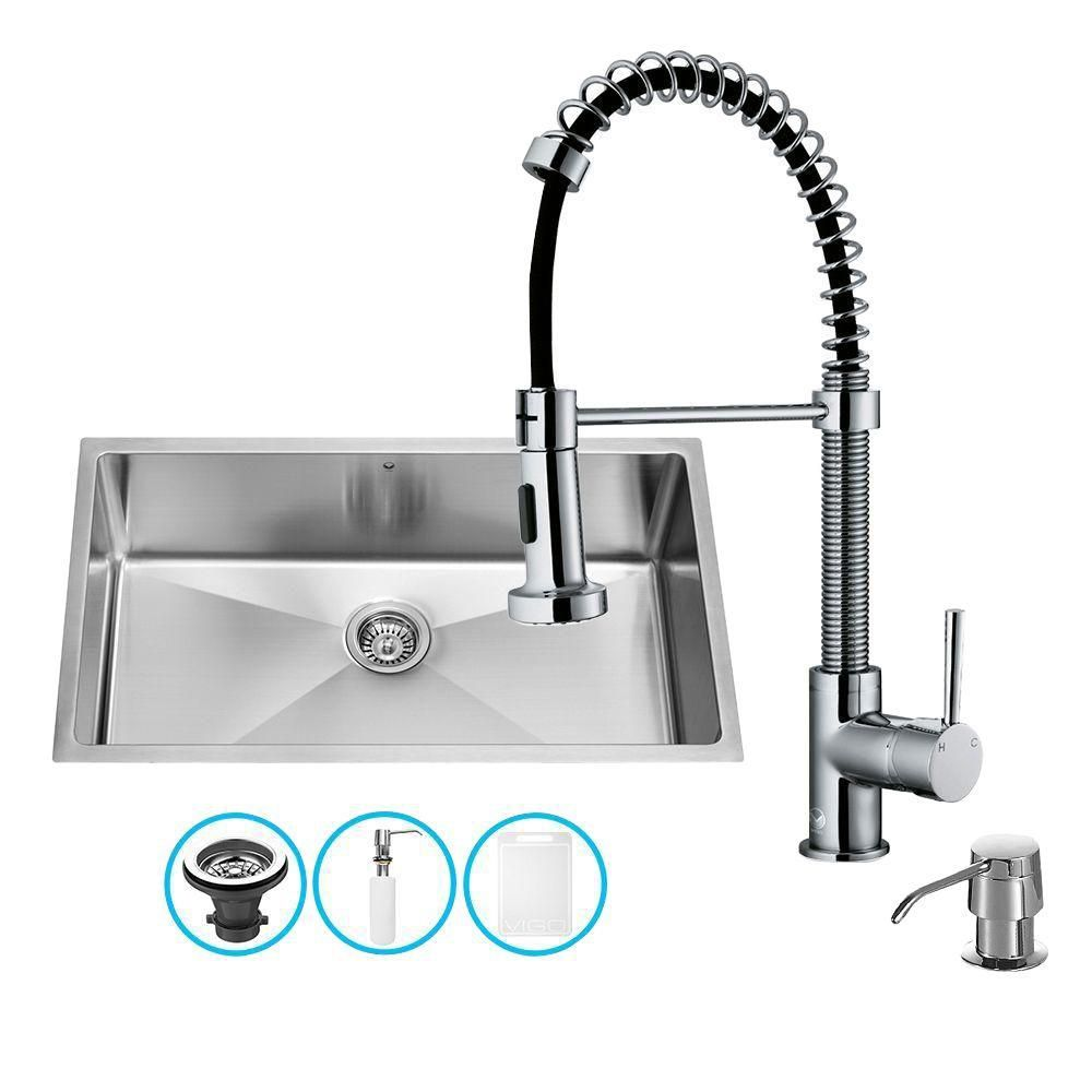 Vigo Stainless Steel Farmhouse Kitchen Sink Faucet And Dispenser The Home Depot Canada Stainless Steel Kitchen Sink Undermount Single Bowl Kitchen Sink Sink