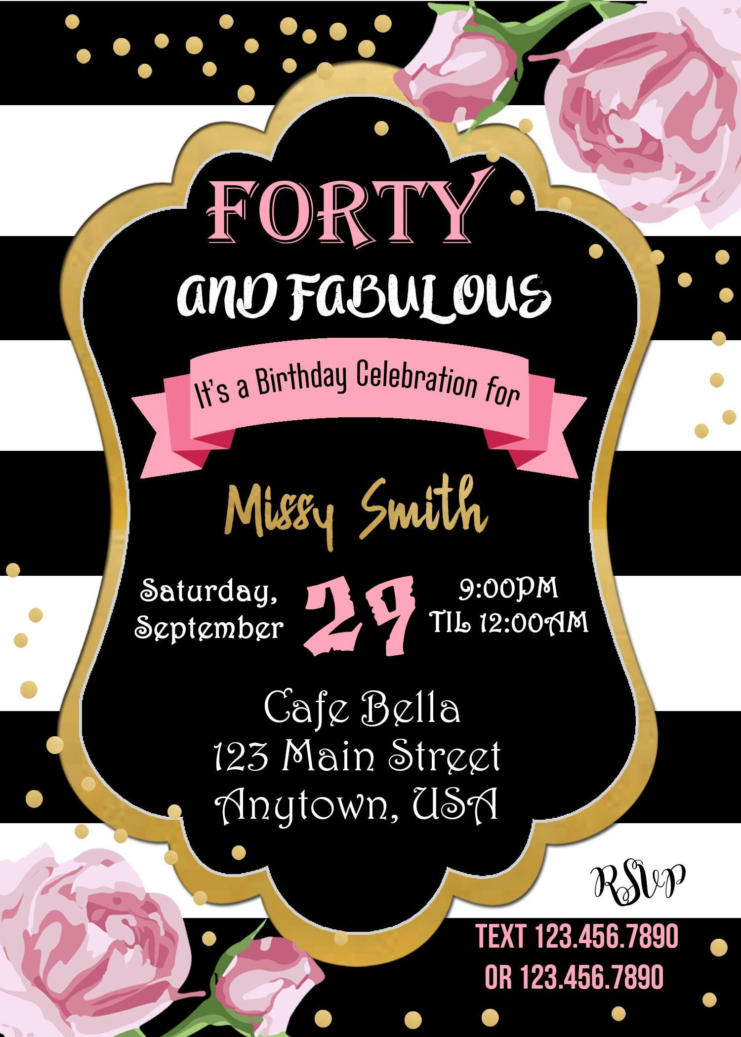 40 And Fabulous Birthday Invitation In 2019 40th Birthday