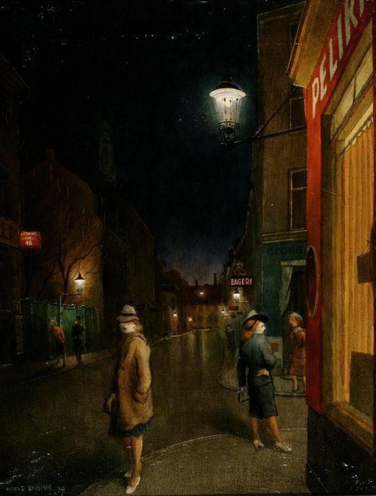 Girls at Café pelican on the corner of St. Peter Strait and Larsbjørnsstræde at night, 1939, Harald Engman. Danish ((1903 - 1968)  (Source:  Vaeggen.Copenhagen  )