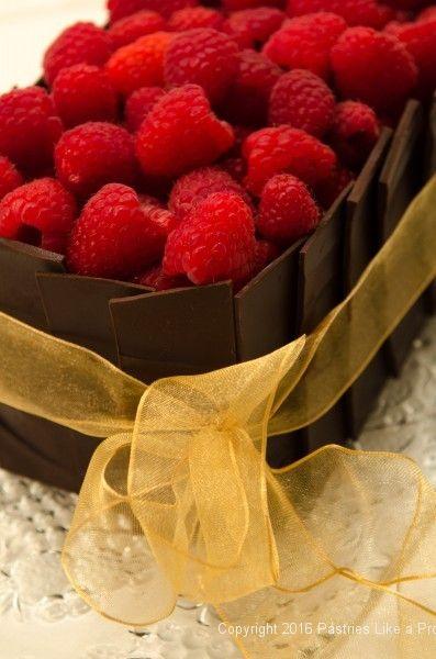 Raspberries on top of the Chocolate Raspberry Gateau