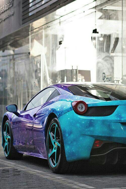 ferrari with cool galaxy paint job