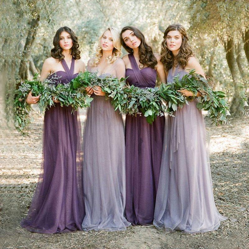 Vestidos De Novia Pastel Mismatched Purple And Lavender Bridesmaid ...