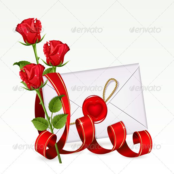 Valentine background with letter and red roses