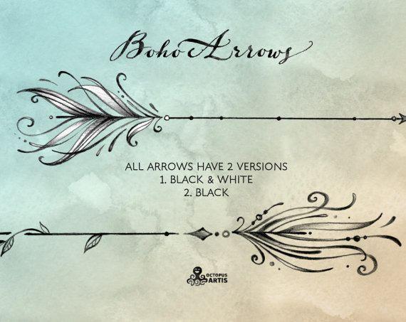 Boho Arrows. 17 Hand Drawn Clipart. Tribal, Native Diy