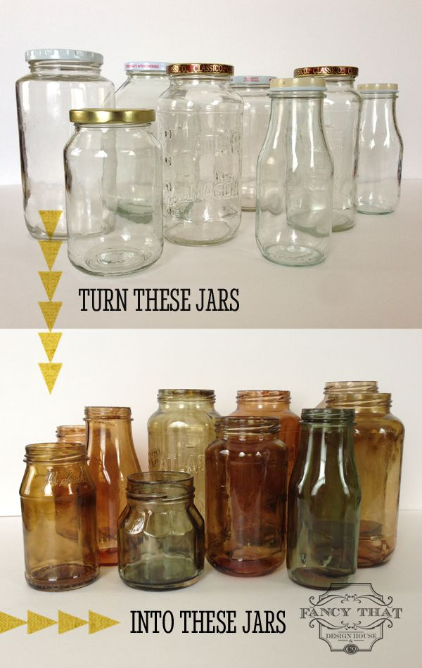 DIY Turn All Your Recycled Jars Into Gorgeous Fall Decor Easy Tutorial On Tinted Mason JarsColor