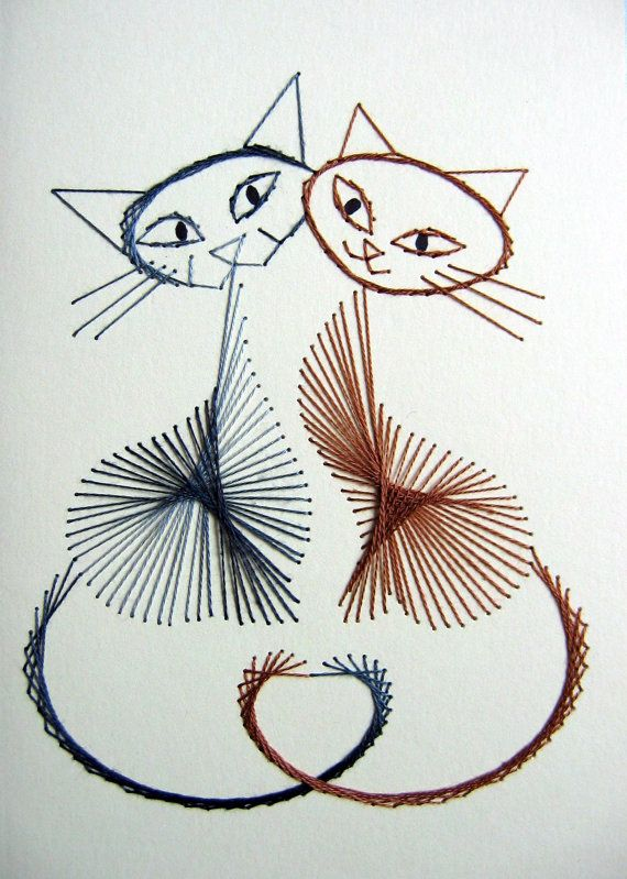 Playful cats set of hand stitched greetings cards