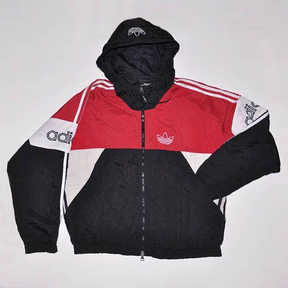 Vintage Adidas Tracktop Multicolor Colorblock Hooded Jacket   80s   90s  Fashion Outfits    Retro Streetwear    Windbreaker    Oldschool    men     women ... 61a33446b363