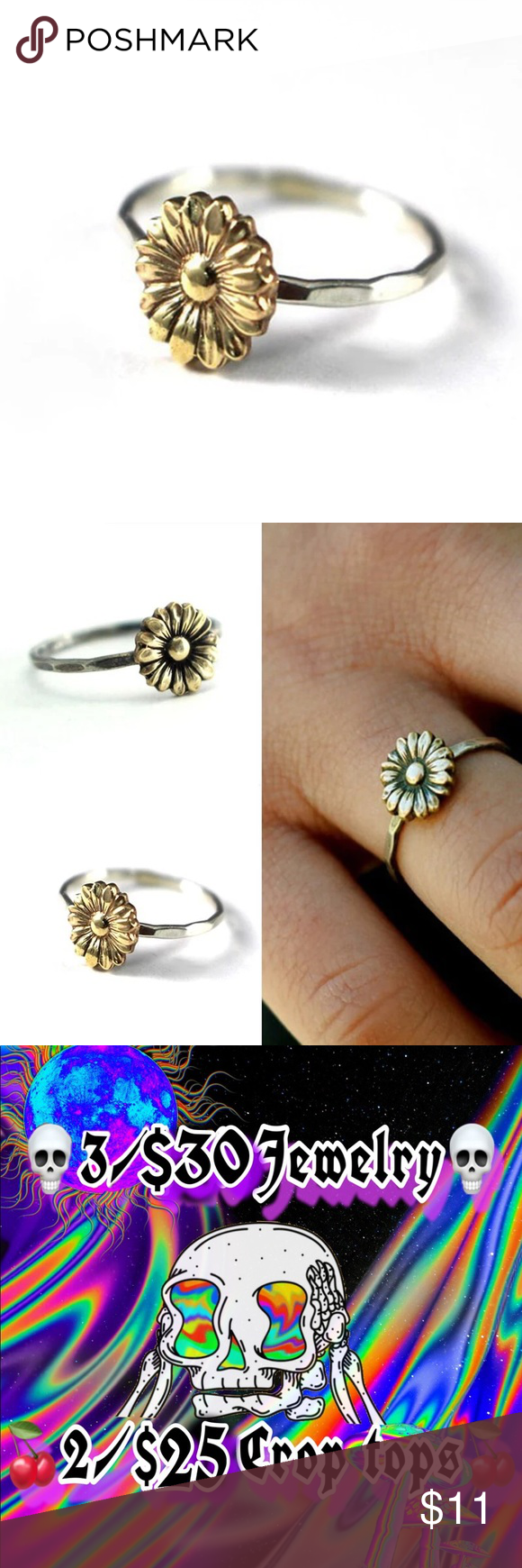 Photo of 🌻 sunflower flower silver gold dainty ring 🌻 Sunflower flower yellow gold …