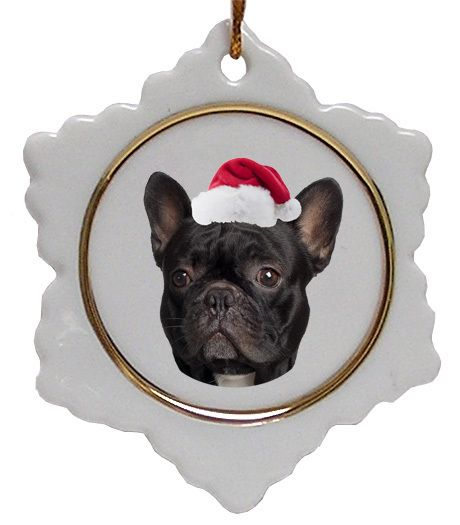 French Bulldog Ceramic Jolly Santa Snowflake Christmas Ornament ...