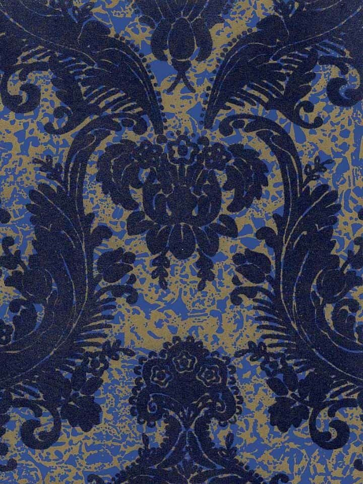 Victorian flocked velvet wallpaper blue on gold blue for Victorian wallpaper