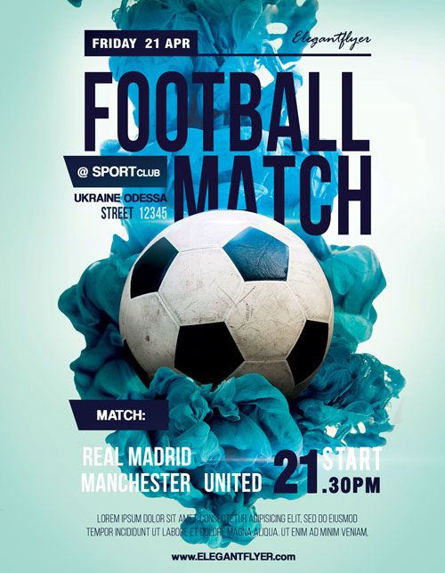 Soccer Match Free Sport Flyer Template  Soccer    Flyer