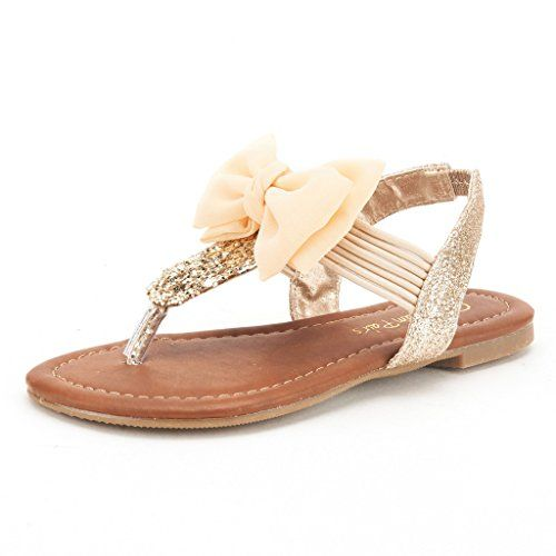 Amazon.com: DREAM PAIRS SPPARKLY Girls Rhinestone Front Bow Thongs Sandals  T-Strap Elastic Band Toddler SILVER SIZE 9: Shoes