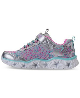 11f1a043047945 Skechers Little Girls' S Lights: Galaxy Lights Light-Up Athletic Sneakers  from Finish Line - Silver 3