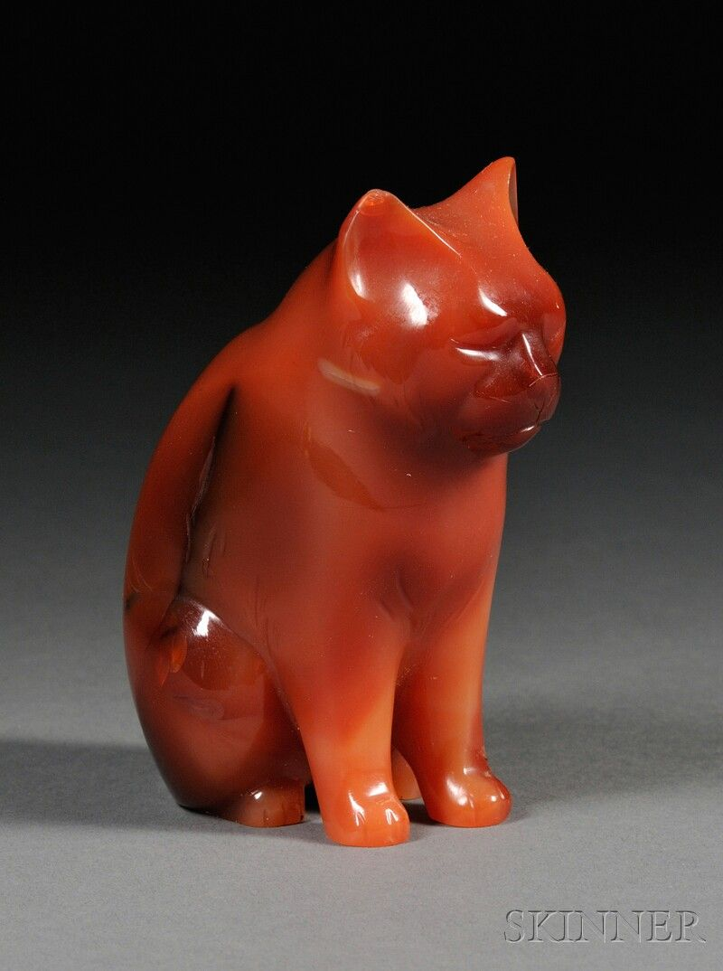 Carved Carnelian Figure of a Cat (possibly Russia, early to mid-20th century)
