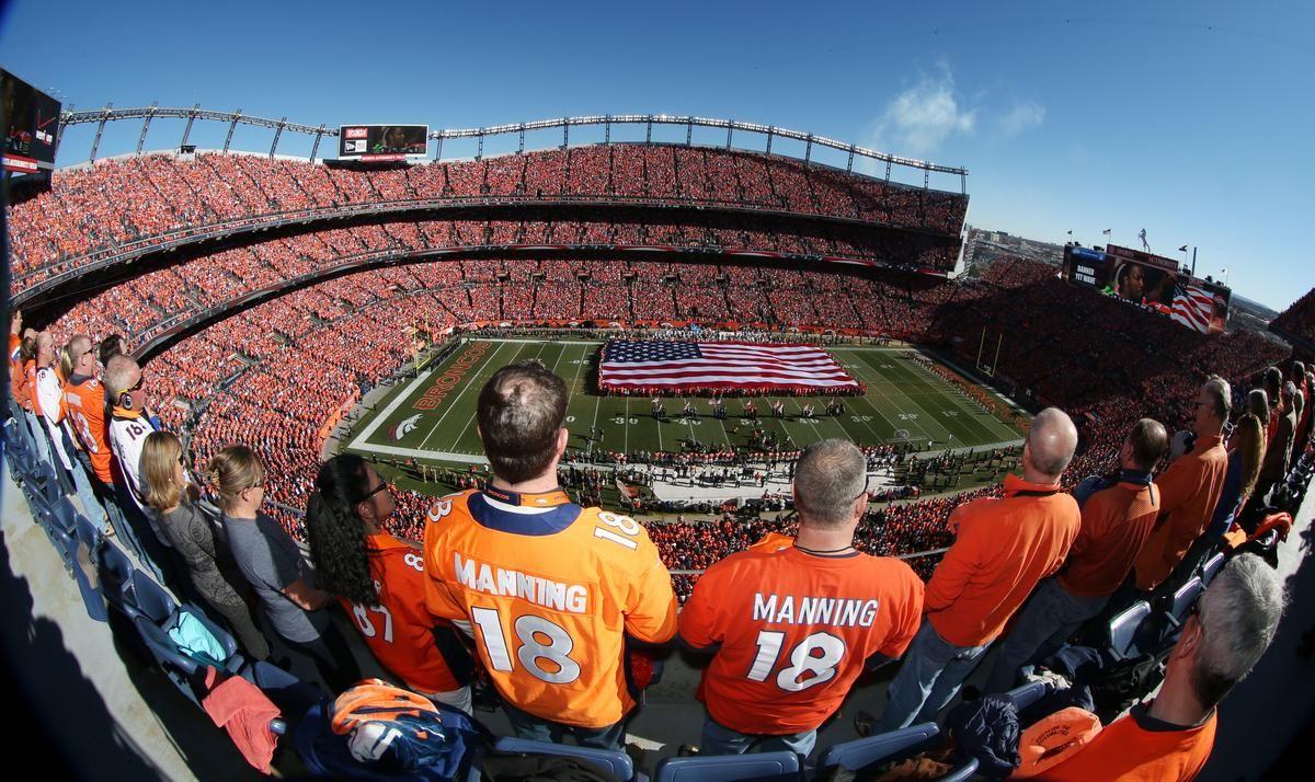 Denver Broncos fans stand for national anthem as United