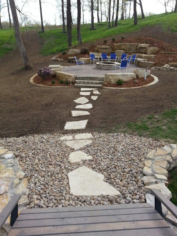 Attractive Outcropping Patio/ Foundation Stone Firepit