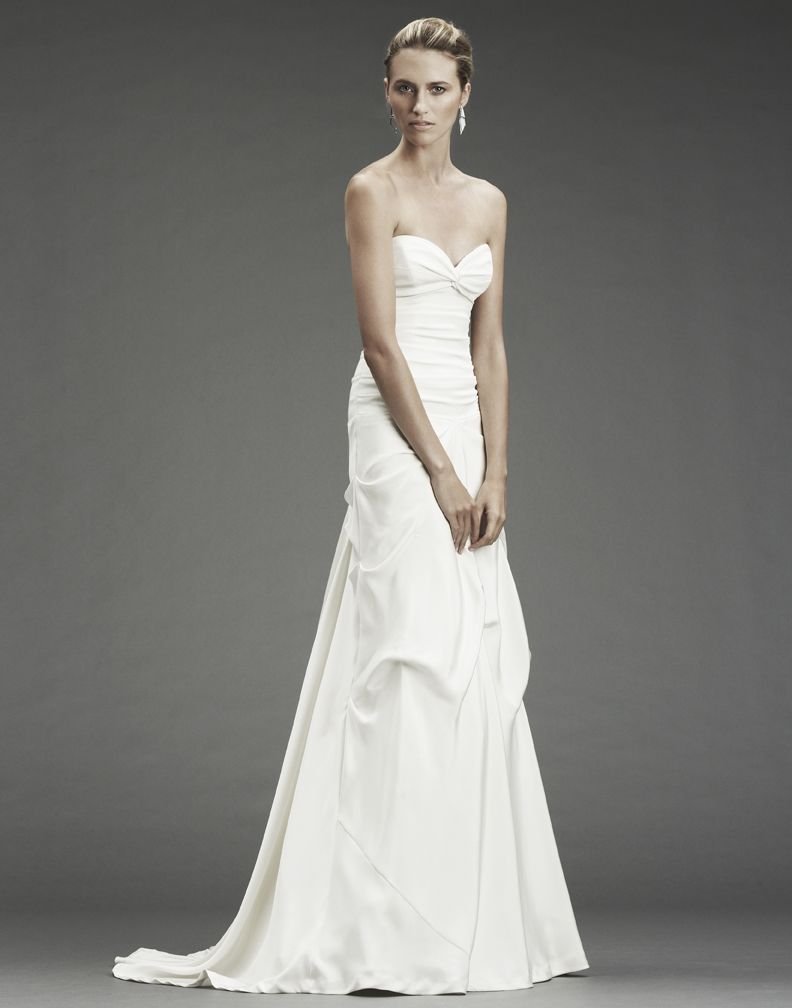 Chic And Simple A Line White Wedding Dress With Sweetheart Neckline From Nicole Miller