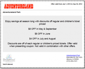 image about Adventureland Coupons Printable identify Help you save up in the direction of $8 for every ticket at Adventureland inside of Des Moines
