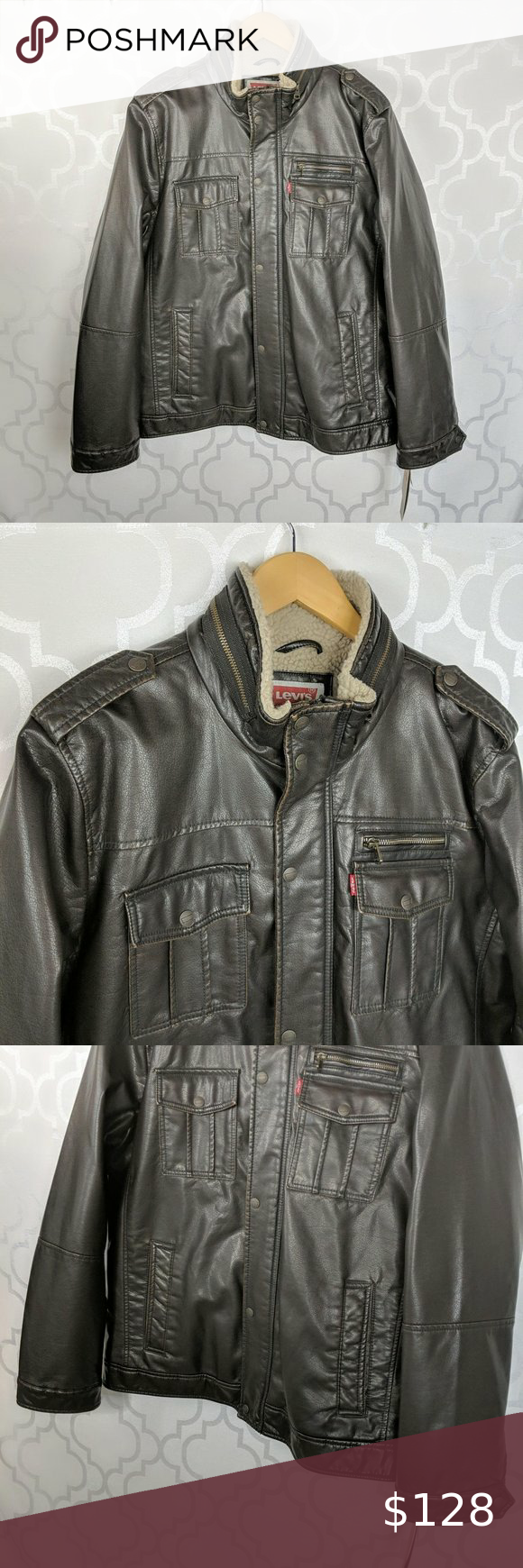 Levi S Brown Faux Leather Bomber Jacket New With Tags Levi S Brown Faux Leather Bomber Ja Faux Leather Bomber Leather Bomber Jacket Faux Leather Bomber Jacket [ 1740 x 580 Pixel ]