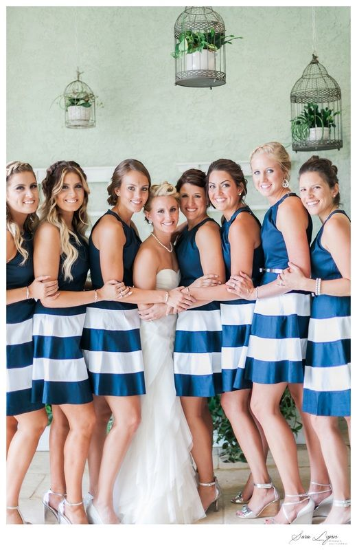 Navy And White Striped Bridesmaid Dresses