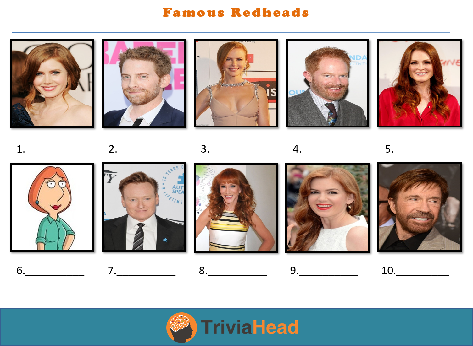 famous redheads trivia picture round picture quiz Trivia