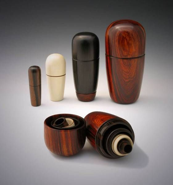 """The woods and sizes from left to right are: Macassar Ebony, 1"""" w x 3"""" t; Holly, 1.75 w x 3.5"""" t; Blackwood, 2.25"""" w x 4.5 t; Cocobolo, 2.3/4"""" w x 6"""" t. All are finished with fricton polish."""