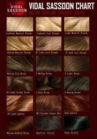 Vidal sassoon hair color chart also loreal rh pinterest