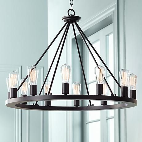 Lacey 28 Wide Round Black 12 Light Wagon Wheel Chandelier W7307 Lamps Plus Kitchen Lighting Over Table Dining Room Chandelier Rustic Chandelier