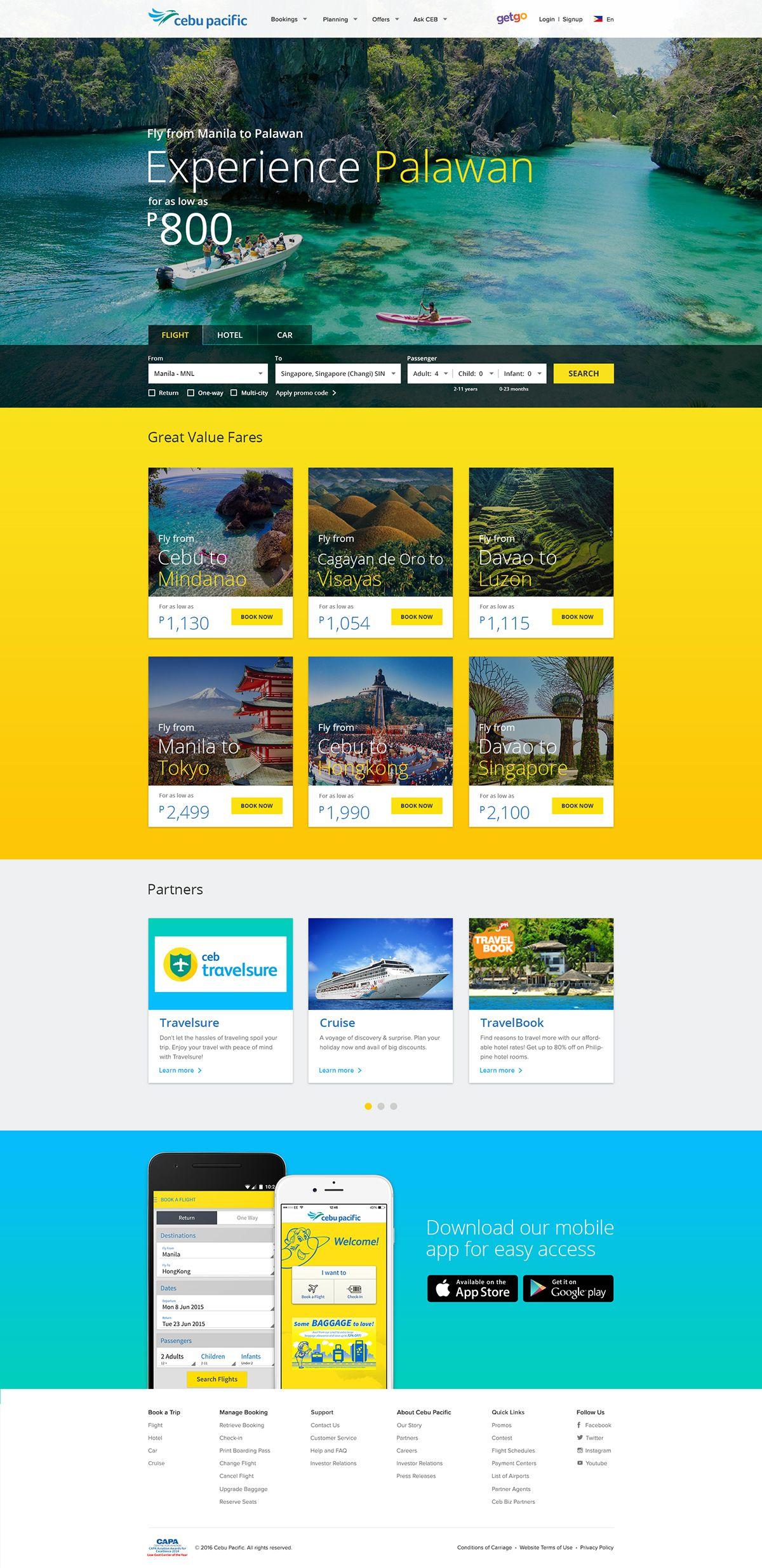 Cebu Pacific Website Redesign On Behance S Izobrazheniyami