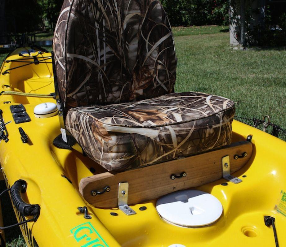Image of darin o 39 brien 39 s homemade kayak seat rod reel for Kayak fishing seats
