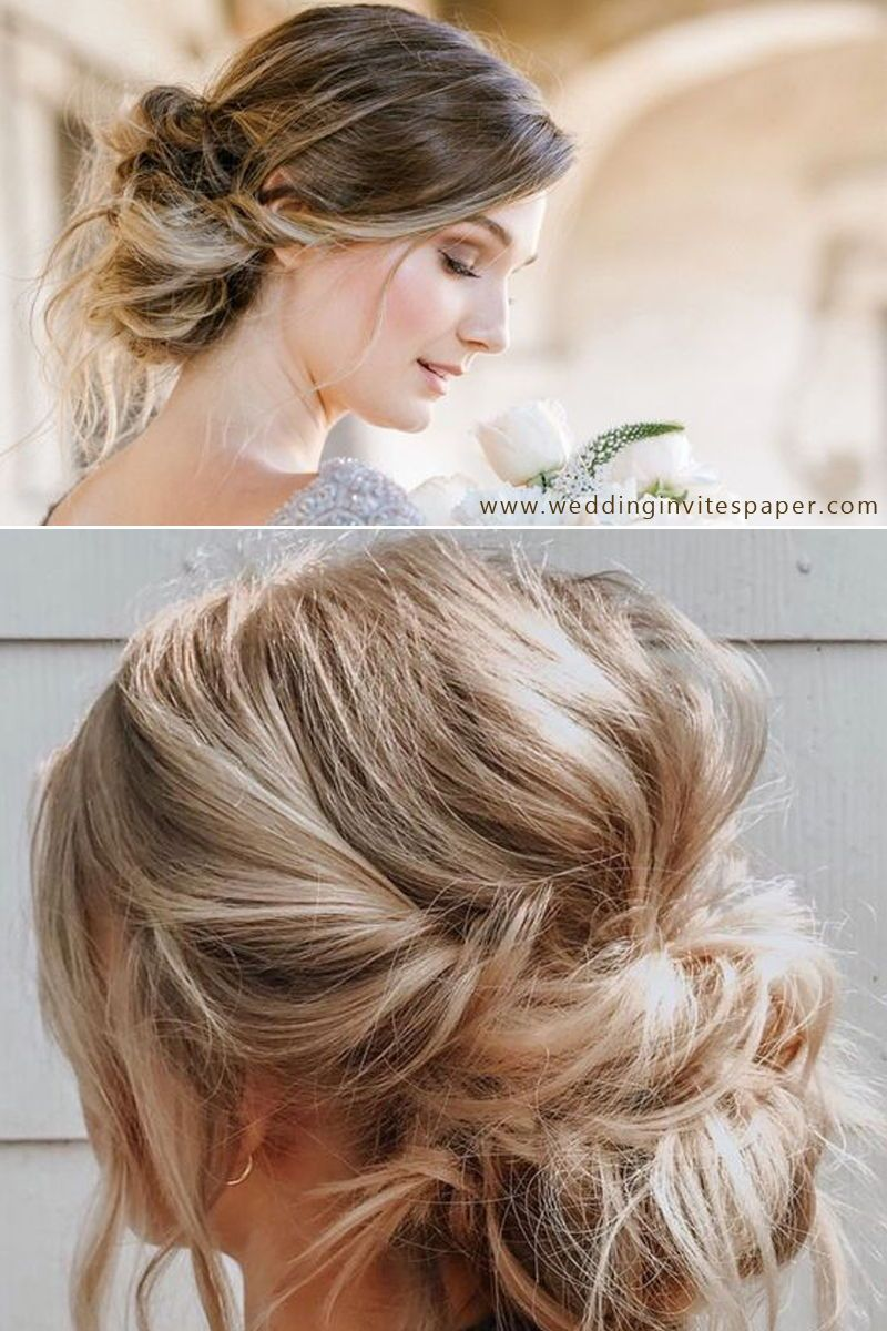 46 Unforgettable Wedding Hairstyles for Long Hair 2019---undone up do hairstyle, messy upd ...