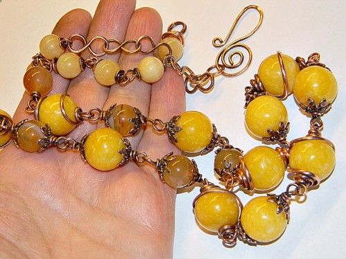 Yellow Jade & Agates Necklace