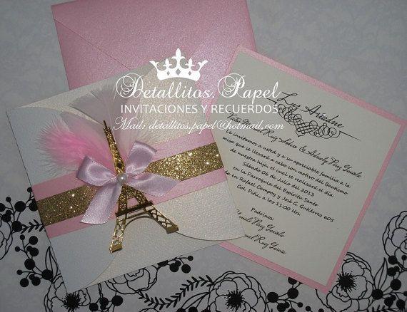 Paris Invitation Quinceañera Invitation Eiffel Invitation