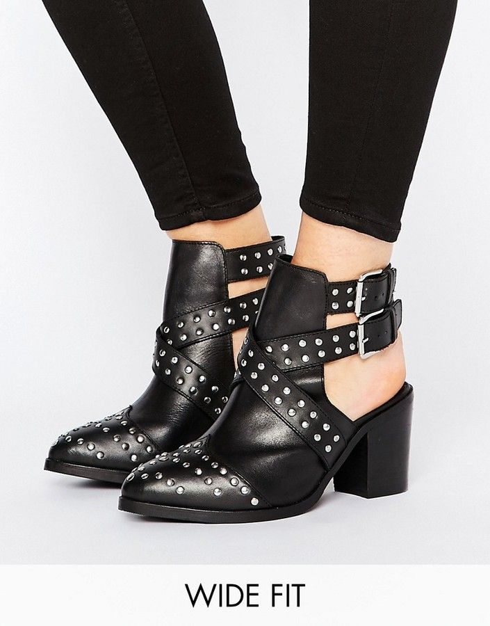 a2b3df3fdbe ASOS ROCKY Wide Fit Leather Studded Cut Out Ankle Boots | shoes
